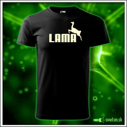 Svietiace unisex tričko Lama, čierne vtipné tričko