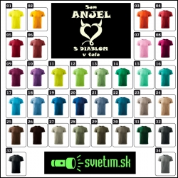 farebné pánske vtipné svietiace tričká Som anjel s diablom v tele, vtipný darček pre mužov