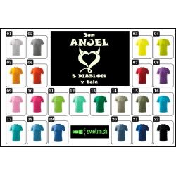 vtipné farebné detské svietiace tričká Som anjel s diablom v tele, vtipné detské darčeky