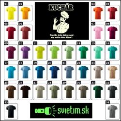 Farebné vtipné svietiace tričká pre kuchárov s kuchárskou potlačou Kuchár. Vtipný darček pre kuchtíkov.