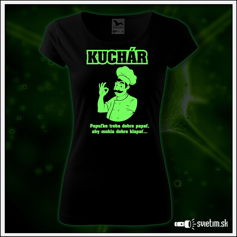 dámske svietiace vtipné tričko pre kuchárku, humorný darček kuchár