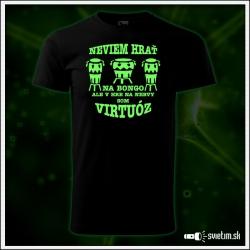 Pánske vtipné svietiace tričko Bongo virtuóz, humorný darček pre nervákov
