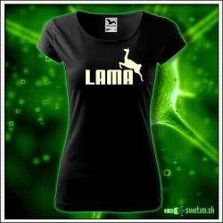 Svietiace dámske tričko Lama, čierne vtipné tričko