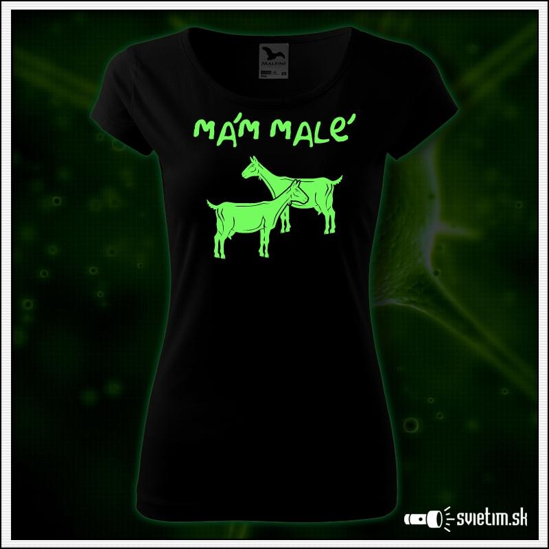 dámske vtipné svietiace tričko Mám malé kozy, vtipný darček pre ženy