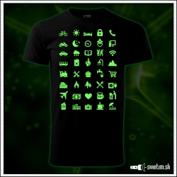 vtipné svietiace turistické tričko Icon speak pre cestovateľa, humorný darček k narodeninám