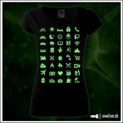 dámske vtipné svietiace turistické tričko Icon speak pre cestovateľku, vtipný darček pre ženy