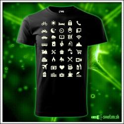 Vtipné detské tričko so svietiacou potlačou pre turistu s ikonami, vtipný detský darček