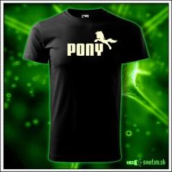 Svietiace unisex tričko Pony, čierne vtipné tričko