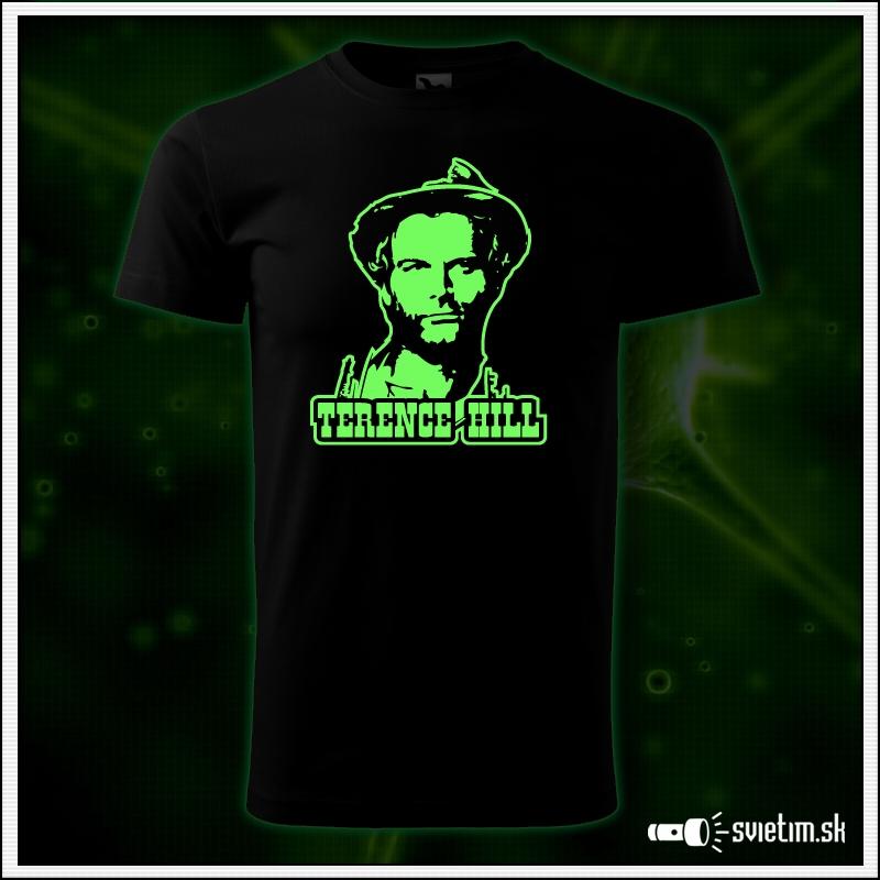 pánske retro tričko Terence Hill, nostalgický darček spaghetti western, svietiace tričká s potlačou