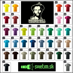 pánske farebné svietiace retro tričká s Terence Hillom, retro darček Terence Hill spaghetti western