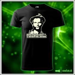 svietiace tričko pánske s Terence Hillom, nostalgický darček spaghetti western, svietiace retro tričká Terenc Hil
