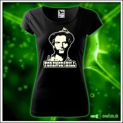retro dámske tričko so svietiacou potlačou Terence Hill retro darček špagety western pre ženu