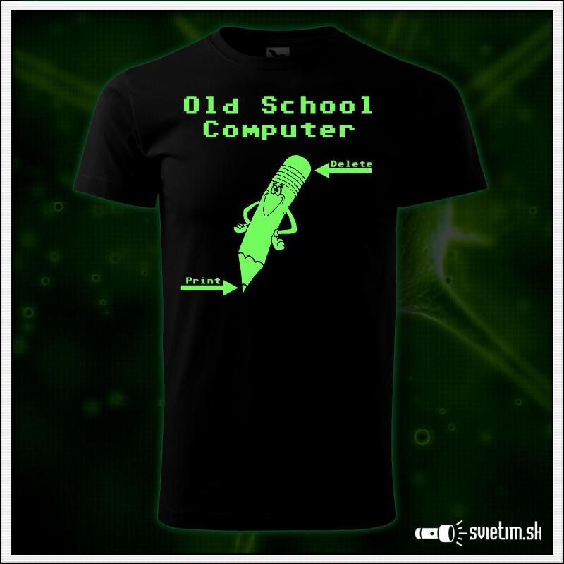 Pánske retro tričko Old School Computer, nostalgický darček  svietiace retro darčeky