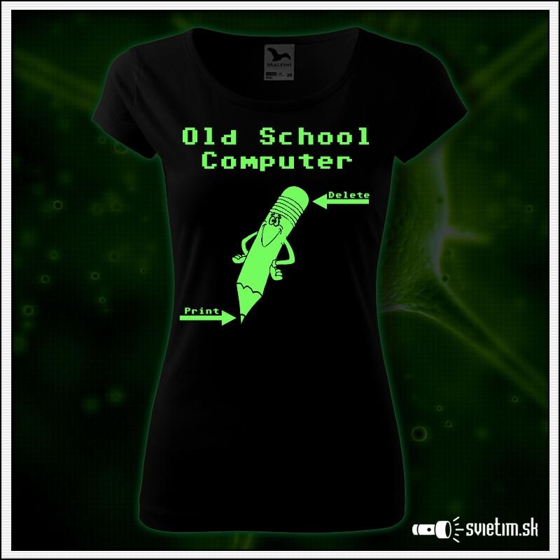 Dámske retro tričko Old School Computer, nostalgický darček  svietiace retro darčeky
