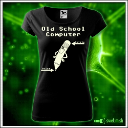 damske svietiace tričko Old School Computer , nostalgický darček pre ženy, svietiace retro tričká a darčeky