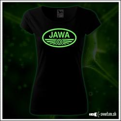 Dámske svietiace retro tričko JAWA nostalgický retro darček pre ženu motocyklistku