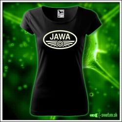 Dámske tričko JAWA so svietiacou potlačou retro darček JAWA pre ženy