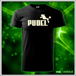 Svietiace unisex tričko Pudel, čierne vtipné tričko