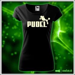 Svietiace dámske tričko Pudel, čierne vtipné tričko