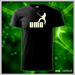 Svietiace unisex tričko Uma, čierne vtipné tričko