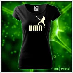 Svietiace dámske tričko Uma, čierne vtipné tričko