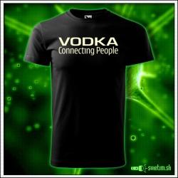Svietiace unisex tričko Vodka, čierne vtipné alkoholové tričko