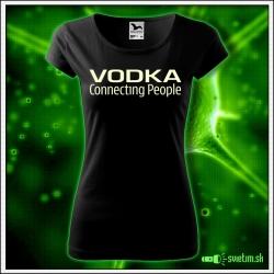 Svietiace dámske alkoholové tričko Vodka, čierne vtipné tričko
