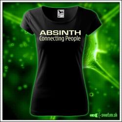 Svietiace dámske alkoholové tričko Absinth, čierne vtipné tričko
