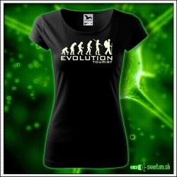 Svietiace dámske turistické tričko Evolution tourist, čierne vtipné tričko