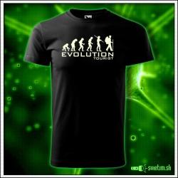 Svietiace turistické detské tričko Evolution tourist, čierne vtipné tričko