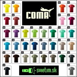 farebné svietiace tričko coma, vtipné tričká s potlačou