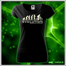Svietiace dámske cyklistické tričko Evolution mountain cycling, čierne vtipné tričko