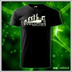 Svietiace unisex cyklistické tričko Evolution Mountain Biking, čierne vtipné tričko