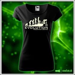 Svietiace dámske cyklistické tričko Evolution mountain biking, čierne vtipné tričko