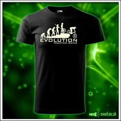 Svietiace cyklistické detské tričko Evolution mountain biking, čierne vtipné tričko