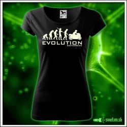Svietiace dámske motocyklistické tričko Evolution motorbike, čierne vtipné tričko