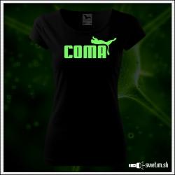 Dámske originálne čierne svietiace tričko Coma