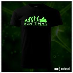 Originálne detské čierne svietiace tričko Evolúcia motorky