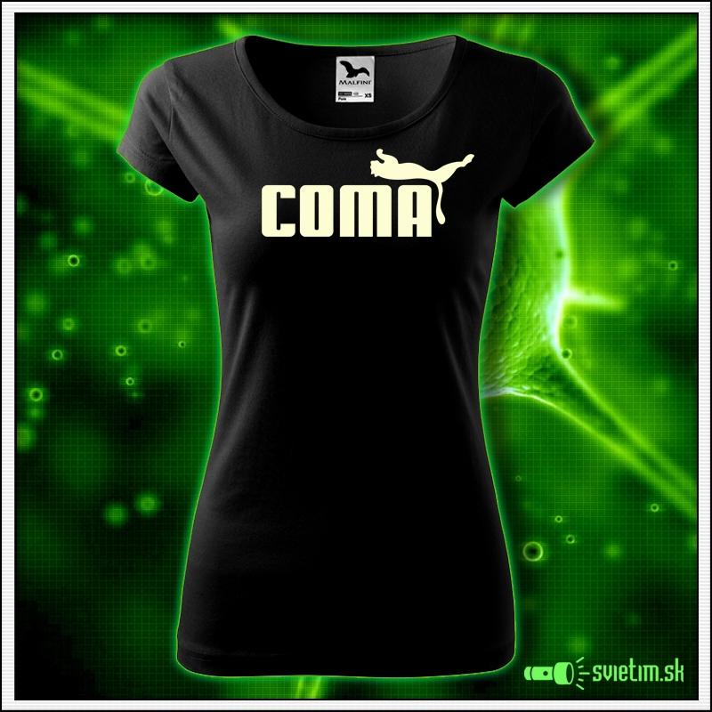 Svietiace dámske tričko Coma, čierne vtipné tričko