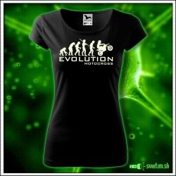 Svietiace dámske motocyklistické tričko Evolution motocross, čierne vtipné tričko