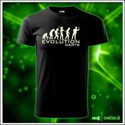 Svietiace unisex športové tričko Evolution Darts, čierne vtipné tričko pre šípkara