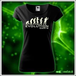 Svietiace dámske športové tričko Evolution darts, čierne vtipné tričko