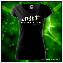 Svietiace dámske športové tričko Evolution archery, čierne vtipné tričko