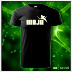 Svietiace detské tričko Ninja, čierne vtipné tričko
