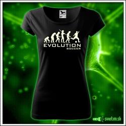 Svietiace dámske športové tričko Evolution Soccer, čierne vtipné tričko pre futbalistku