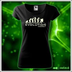 Svietiace dámske športové tričko Evolution Hockey, čierne vtipné tričko pre hokejistku