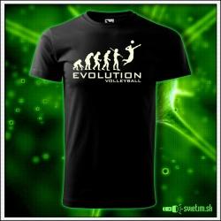 Svietiace unisex športové tričko Evolution Volleyball, čierne vtipné tričko darček pre volejbalistu