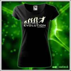 Svietiace dámske športové tričko Evolution Handball, čierne vtipné tričko pre hádzanárku