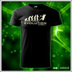 Svietiace športové detské tričko Evolution Handball, čierne vtipné tričko pre hádzanára