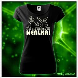 Svietiace dámske alkoholové tričko Zábava bez nealka, čierne vtipné tričko darček na narodeniny